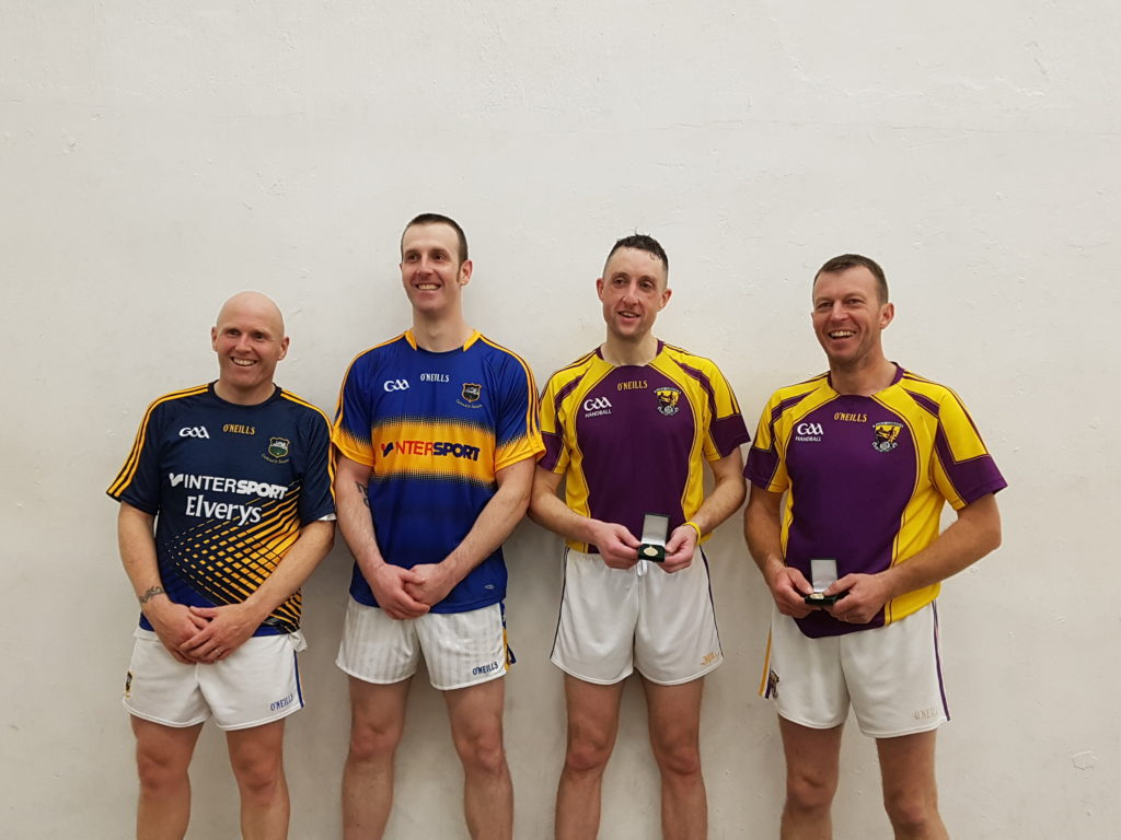 Eddie Farrell and Paul Mullins, Tipperary who lost their masters A doubles title to Gavin Buggy and John Roche, Wexford